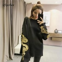 Qlychee Spring Autumn Harajuku Long Sleeve Dragon Embroidery Sweatshirts Women Tops Plus Size Loose Casual Sweatshirts