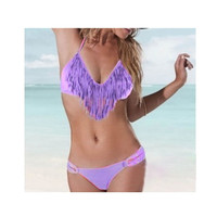 Halter Cut-Out Fringed Bikini