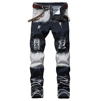 Womail Men's Fashion Men's Stretchy Ripped Skinny Biker Jeans Destroyed Taped Slim Fit Denim Pants  M300110