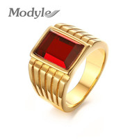 New Big Red Stone Rings for Men Cool Gold-Color Large Rings