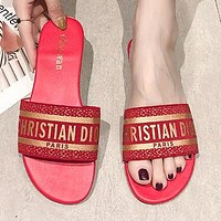 DIOR Summer Hot Sale Woman Leisure Sandals Slipper Shoes Red(Golden Letter)