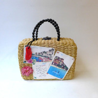 Vintage bohemian Miss Sixty postcard straw holiday handbag
