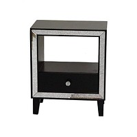 """Black Mirror - 19'.7"""" X 13"""" X 23'.5"""" Black MDF, Wood, Mirrored Glass Accent Cabinet with a Drawer and n Open Shelf and an Mirrored Frame"""
