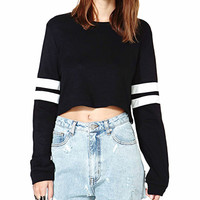 Black Cropped Sweatshirt With Striped Sleeve