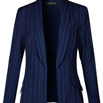 Fully Lined Open Front Striped Blazer Jacket (CLEARANCE)