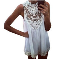 S-XXL New Lace Dress Zanzea Fashion 2014 Sexy Women Ladies Celeb Chiffon Summer Evening Sleeveless Hollow Out Mini Dress
