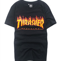 Thrasher Magazine Red Flame Logo Black & Yellow T-Shirt