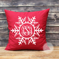 Snowflake pillows monogrammed throw pillows Snowflake decorative throw pillows monogram pillows Christmas pillows 12x12 inches pillows