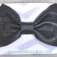 Black Leather Bow Hair clips for Girls
