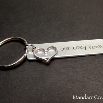 Our Cozy Home, Couples Keychains, New House, House Warming Gift, His and Hers, Heart Charm, Family
