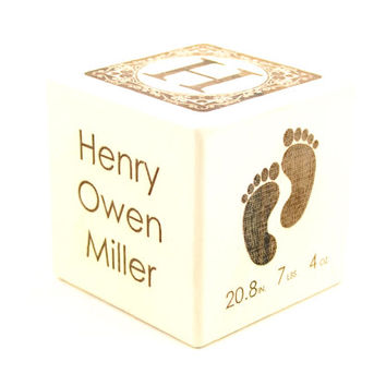 Baby Block Personalized Newborn Gift Engraved Baby Keepsake Newborn It's A Girl It's A Boy Cube Newborns First Alphabet Nursery Decor Blocks