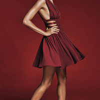 Red Grecian Pleated Cutout Mini Dress from EXPRESS