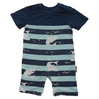 Silkberry Baby™ Shark Print Bamboo Rayon Romper in Navy/Light Blue