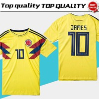 2018 world cup Colombia soccer Jersey Colombia Home yellow Soccer shirt 2018 world cup #10 JAMES Thai Football uniform sales