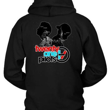 CREYH9S Twenty One Pilots Tyler Joseph And Joshua Dun Siluet Hoodie Two Sided