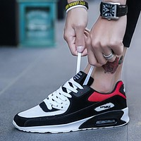 Coloured Men's Shoes Air-cushioned Running Shoes Mesh Sneakers Light Lace Up Men's Shoes Large Size Walking Jogging Shoes