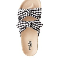 Gingham Bow Two-Strap Slide Sandals | Charlotte Russe