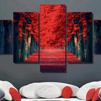 Red Tree 5 Panel Canvas Art Wall Art