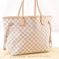 Authentic Louis Vuitton Damier Azur Neverfull MM Tote Bag N51106 LV 45545