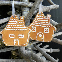 Christmas ornament Set of 2 House Xmas Ornaments home pottery traditional christmas gingerbread houses holiday decor Xmas gift