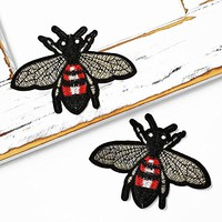 Bee Embroidered Iron-On Patch, Embroidery Applique by 2 pcs, TR-11629