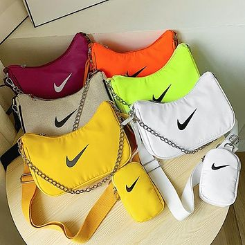 NIKE Classic Print Logo Two-piece Cosmetic Bag Round Small Wallet Shoulder Bag Messenger Bag Shopping Bag