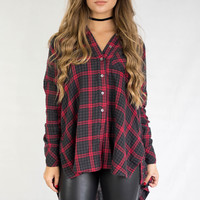 This Girl Red & Black Plaid Shirt Jacket
