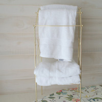 Brass Bathroom Storage Rack, Mid Century Brass Towel Rack, Standing Towel Rack with Shelf