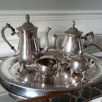 Antique silverplate tea set, 2 silver tea pots, sugar, creamer, and W.M. Rogers tray. Wedding gift, Victorian style silverplated tea service