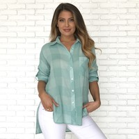 Keep It Light Plaid Button Up Top in Sage