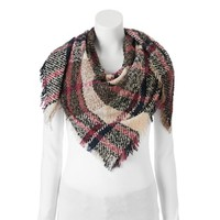 Candie's® Boucle Plaid Frayed Triangle Scarf | null