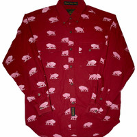 Vintage All Over Print Buffalo Long Sleeve Button Up Western Shirt Mens Size Large