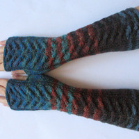 Blue Fingerless Gloves Knit Gloves Winter Gloves Brown Green Black Long Fingerless Gloves