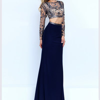Long Sleeved Crop Top Sherri Hill Formal Prom Gown 50097