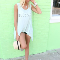 Feeling Blessed Mint Uneven Hem Graphic Tank Top