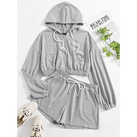SHEIN Zip Up Drawstring Hoodie & Shorts Set
