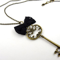 Antique Key Necklace Pendant with Black Ribbon Bow Tie Unique Handmade Jewelry