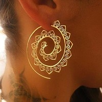 Women Boho  Long Earring Unique Vintage Round Spiral Earring Whirlpool Gears Girl Fashion Earring