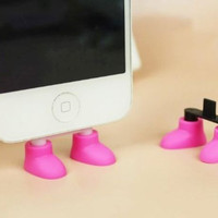 3 Pairs Creative Shoes Data Port Dust Plug Phone Stand for iPhone Samsung (Random Color)