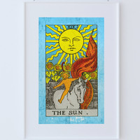 Tarot Print The Sun Retro Illustration Art Rider Print Vintage Giclee on Cotton Canvas or Paper Canvas Poster Wall Decor