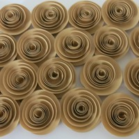 """Tan Paper Flowers Set of 25, Small Light Brown Roses, Buy in Bulk, Rustic Wedding Decor, Natural Earth Tone Color, Neutral 1.5"""" Rosettes"""