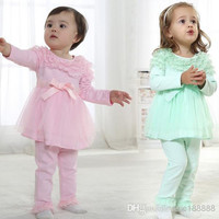 New Arrivals 2014 Baby Girl Clothing Cotton Beautiful Sweet Lace Group Dress Leisure Suit Outfits For Spring/Summer/Autumn 4set/lot