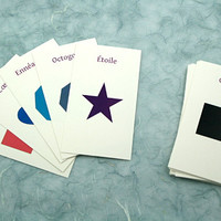 Shapes in Russian, French, English, German: Translation cards, Flash cards, Word game, children's game, learn a language, 2D, 3D, geometry