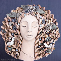 Ceramic wall art Rustic Wall decoration ceramic Women Face Sculpture from clay wall decal wall hanging home decor Wall mask Huge mug plaque