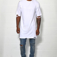 White Distressed Long Tee