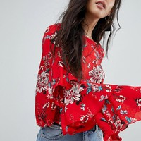 Glamorous Petite Top With Ruffle Layer Sleeves In Floral at asos.com