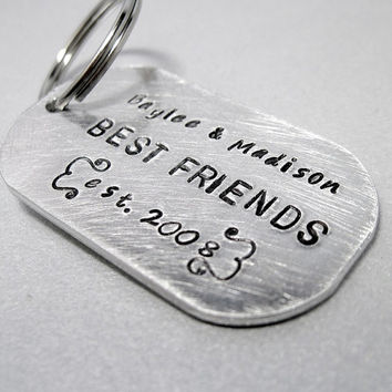 Personalized Best Friend Keychain - BFF Gift - Rounded Aluminum Dog Tag - Customized with Name and Date