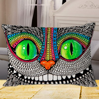 """Alice In Wonderland and Cheshire Cats on rectangle pillow cover 26"""" 30"""" 36"""""""