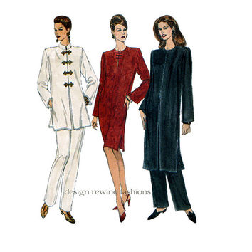 1990s Asian Inspired Tunic Dress - Frog Closures Mandarin Collar & Tapered Pants Vogue 8867 Bust 31.5 32.5 34 UNCUT Women's Sewing Patterns