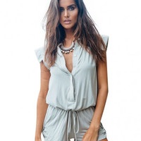 Grey Draw String V-Neckline Romper with Buttons Detail